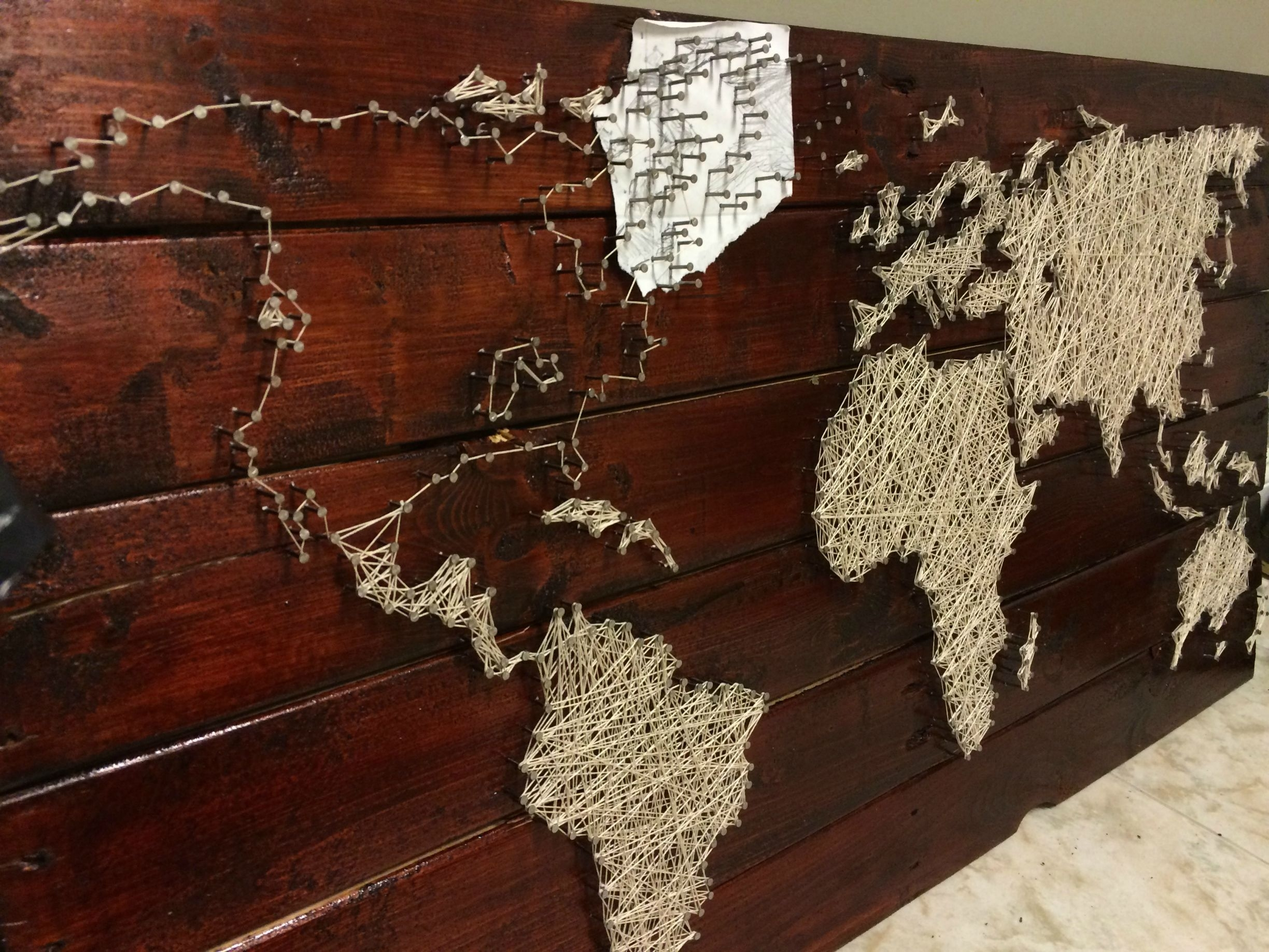 Pallet Project – String And Nail World Map | Art Head | Pinterest Regarding String Map Wall Art (View 11 of 20)