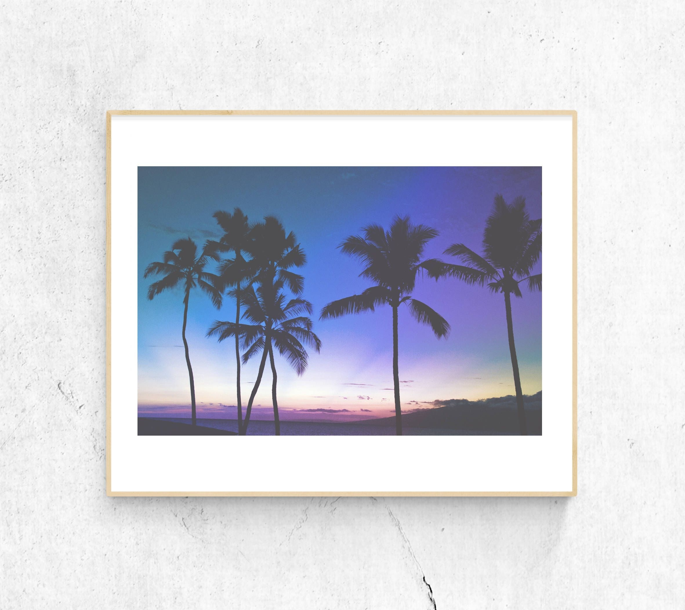Palm Tree Printable // Maui, Photograph, Printable Wall Art, Sunset throughout Palm Tree Wall Art (Image 11 of 20)