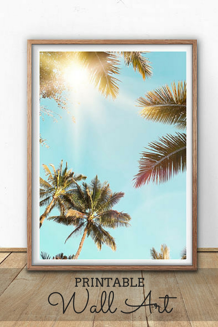 Palm Tree Wall Art Printable #homedecor #home #decor #wallart #art regarding Palm Tree Wall Art (Image 13 of 20)