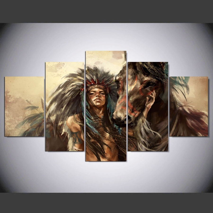 Panel Hd Native American Girl And Horse Art Print Canvas Art Wall Inside Native American Wall Art (View 18 of 20)
