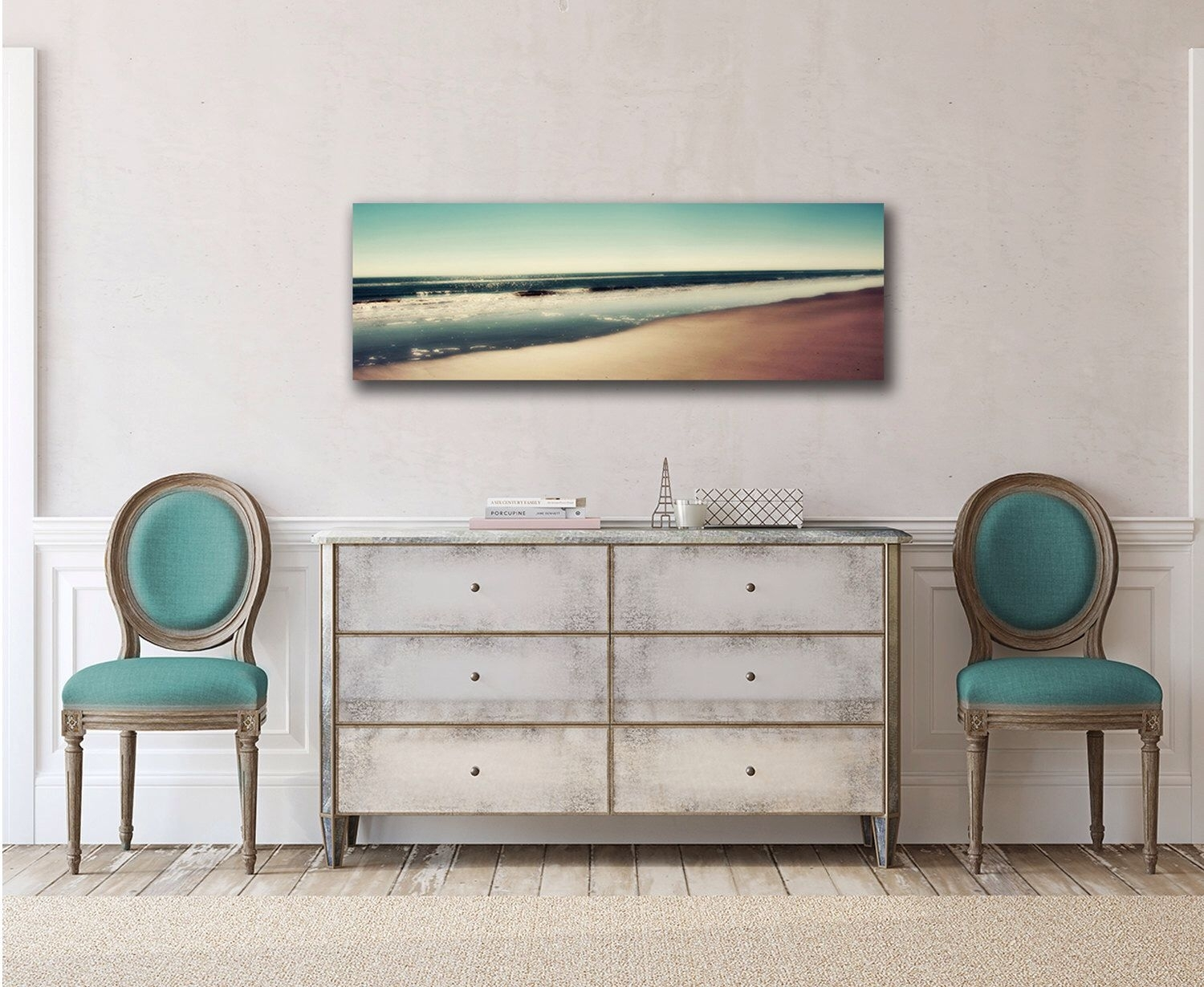 Panoramic Canvas Art Ocean Beach Photography Teal Wall Art Sand intended for Oversized Teal Canvas Wall Art (Image 19 of 20)
