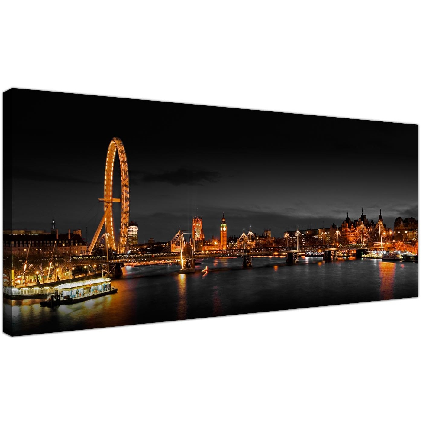 Panoramic Canvas Wall Art Of London Eye At Night For Your Living Room Within London Wall Art (Photo 5 of 20)