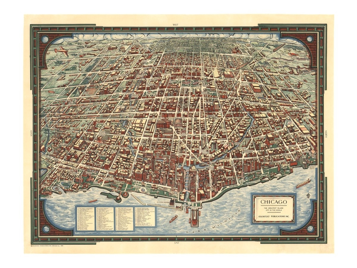 Panoramic Map Of Chicago   Old Maps And Prints   Vintage Wall Decor Inside Chicago Map Wall Art (Photo 9 of 20)