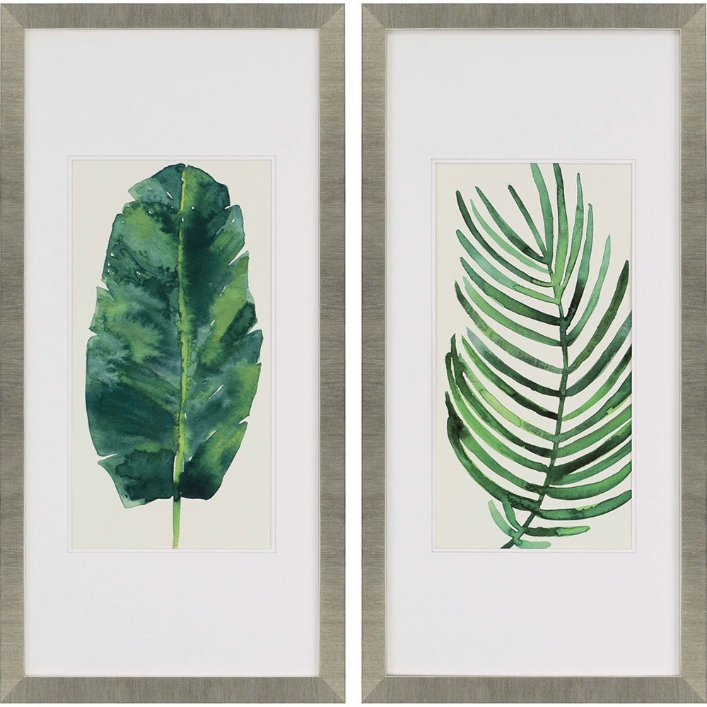 "Paragon ""palm Leaves Ii"" 2 Piece Framed Wall Art Set & Reviews for Green Wall Art (Image 18 of 20)"