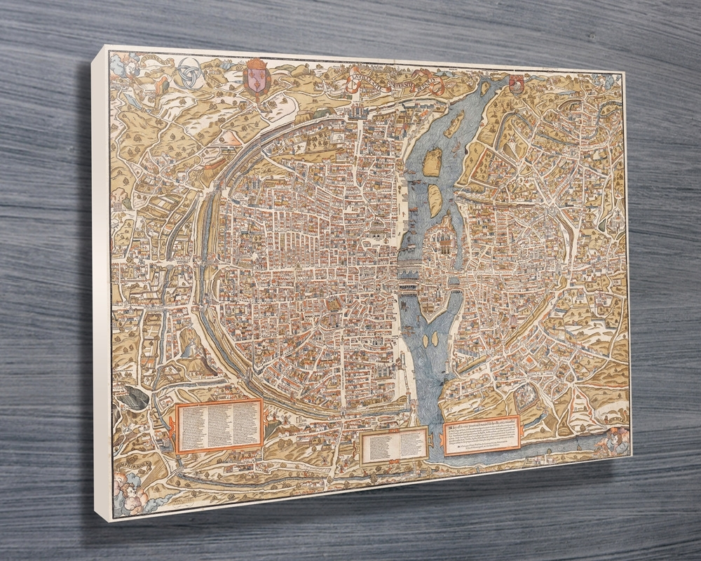Paris 1550 Map Canvas Wall Art Print throughout Map Wall Art Prints (Image 11 of 20)
