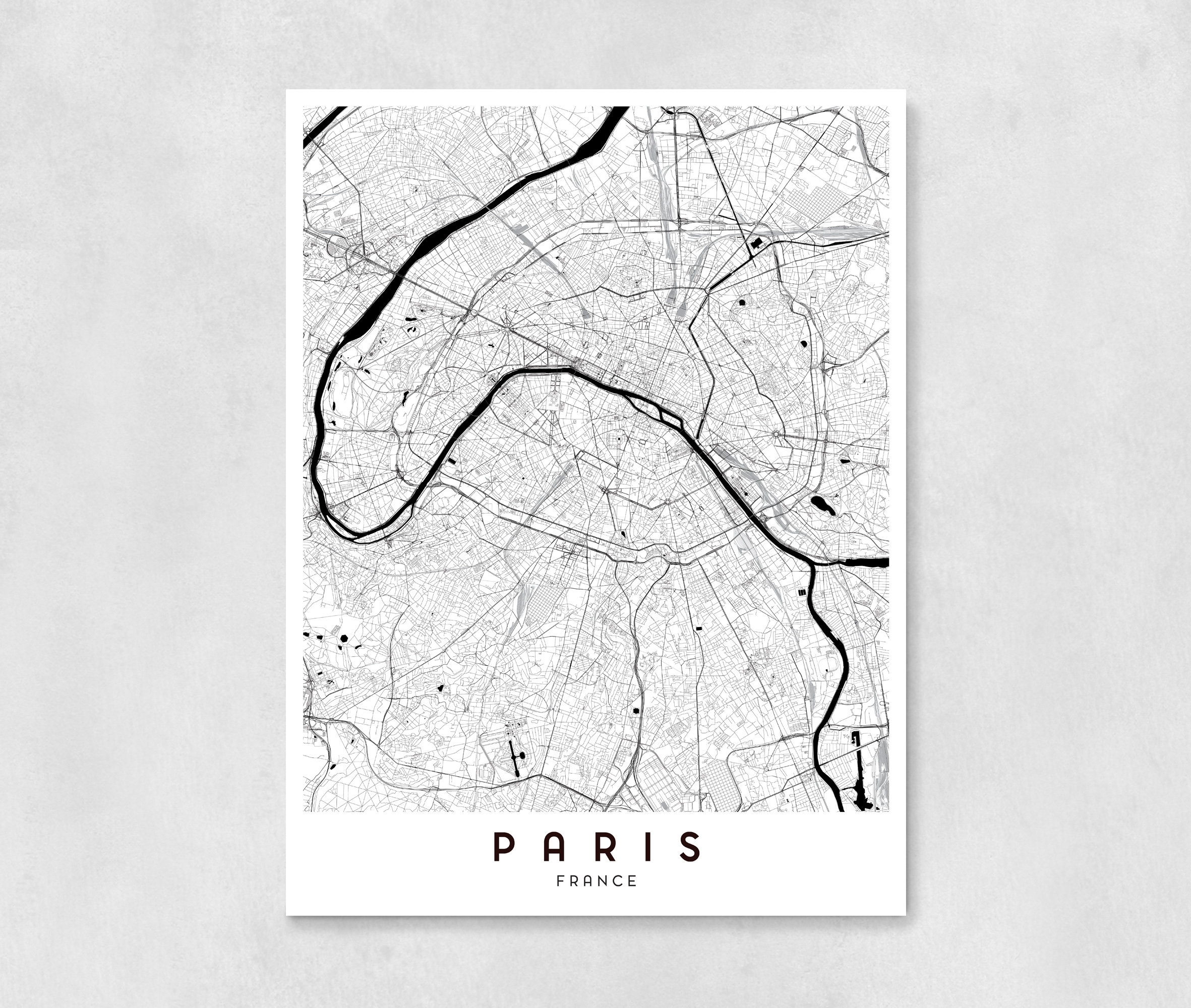 Paris City Map Art Print Wall Art Wall Decor Bedroom. Map Of Decor throughout Map Of Paris Wall Art (Image 10 of 20)