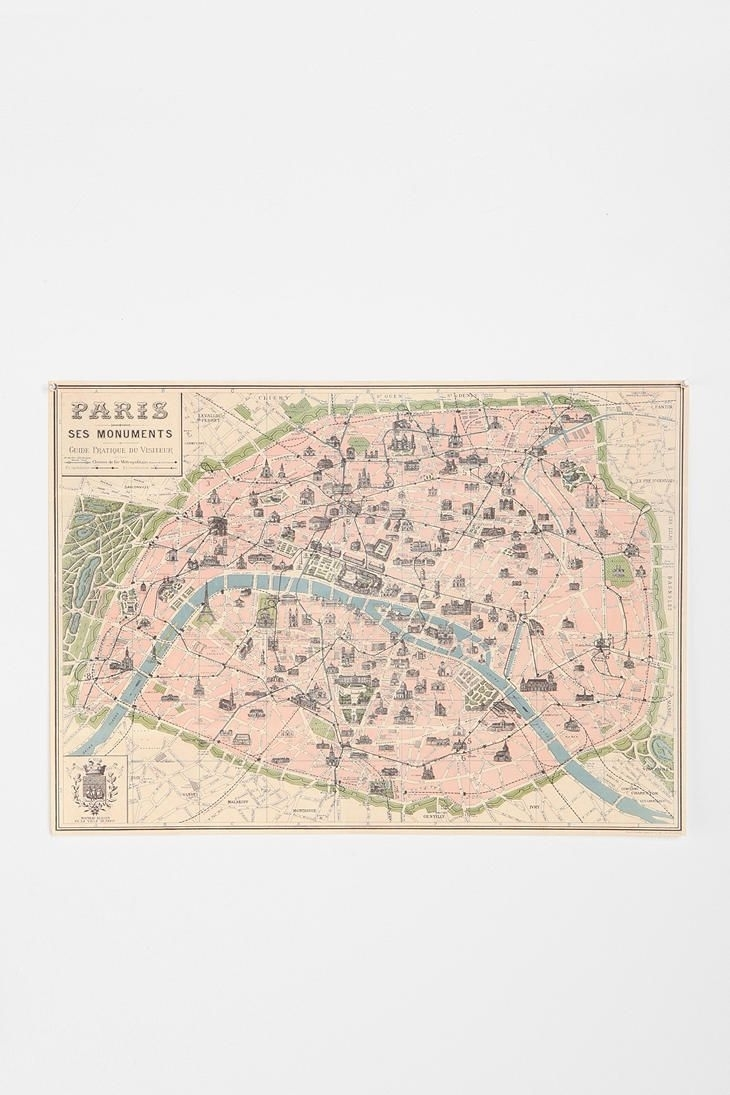 Paris Map Poster | Paris Map, Room And Apartments pertaining to Map of Paris Wall Art (Image 11 of 20)