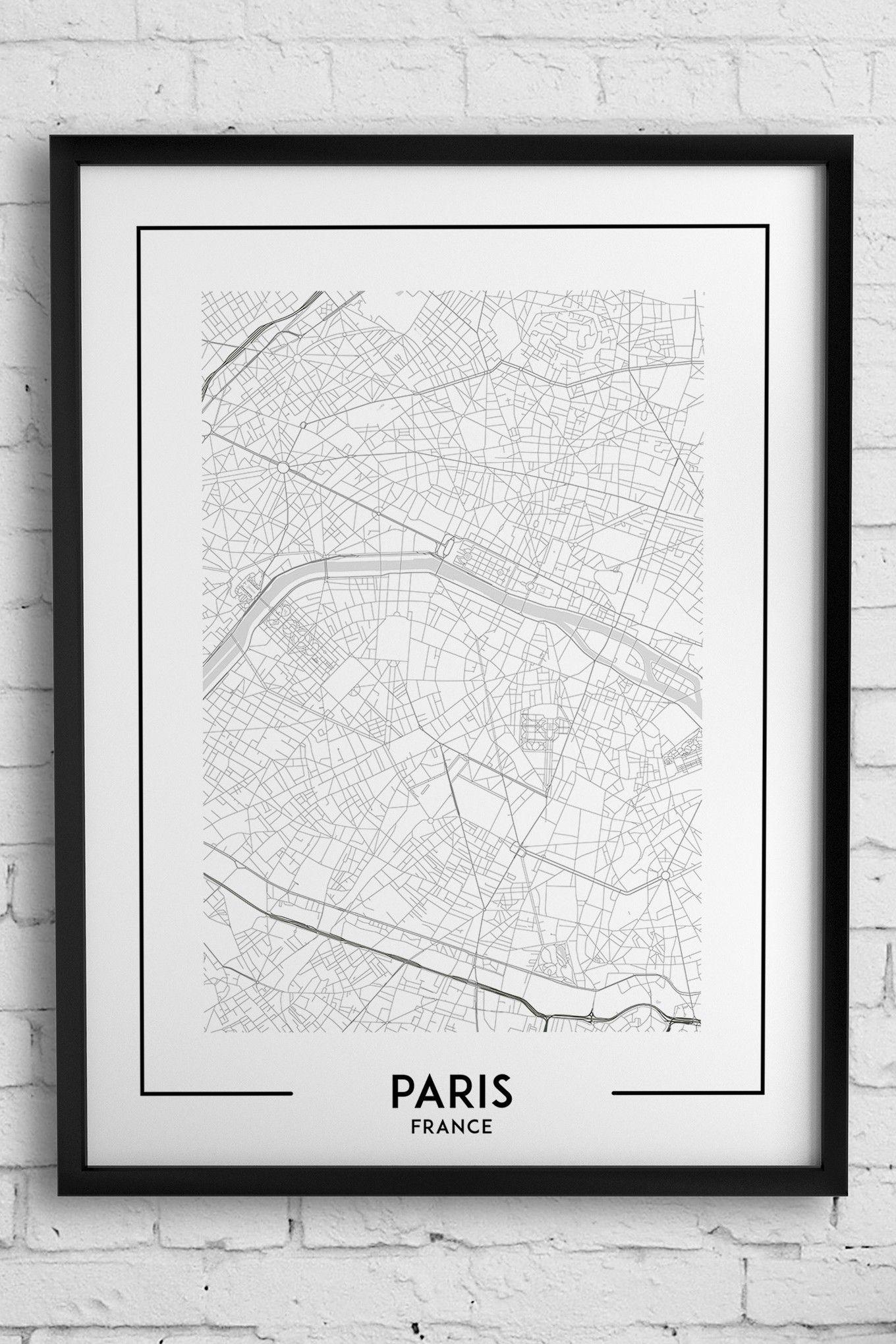 Paris Map Print, Paris Poster, Paris Wall Art, Paris City Map, Paris Inside Map Of Paris Wall Art (Photo 5 of 20)