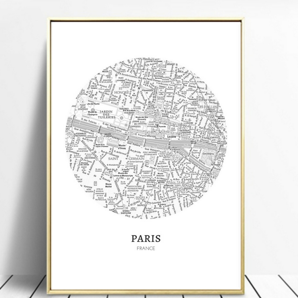 Paris Map Wall Art, Digital Download, A4 Pdf, Instant Download with regard to Map of Paris Wall Art (Image 15 of 20)