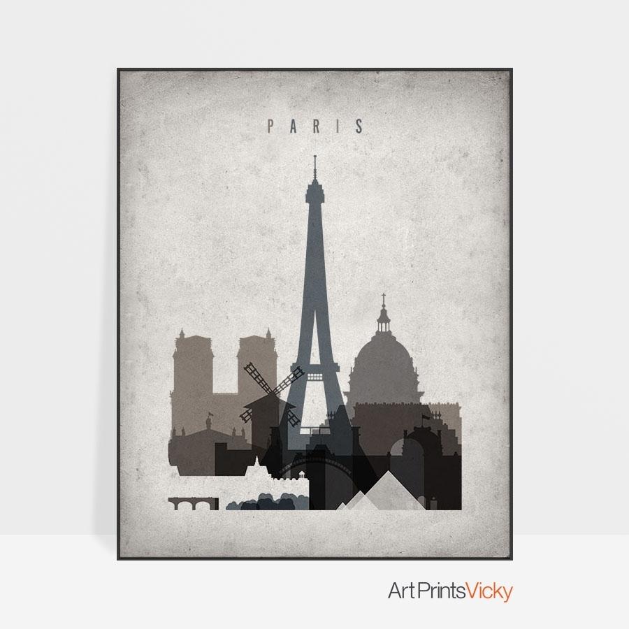 Paris Skyline Wall Art Retro | Artprintsvicky throughout Paris Wall Art (Image 15 of 20)
