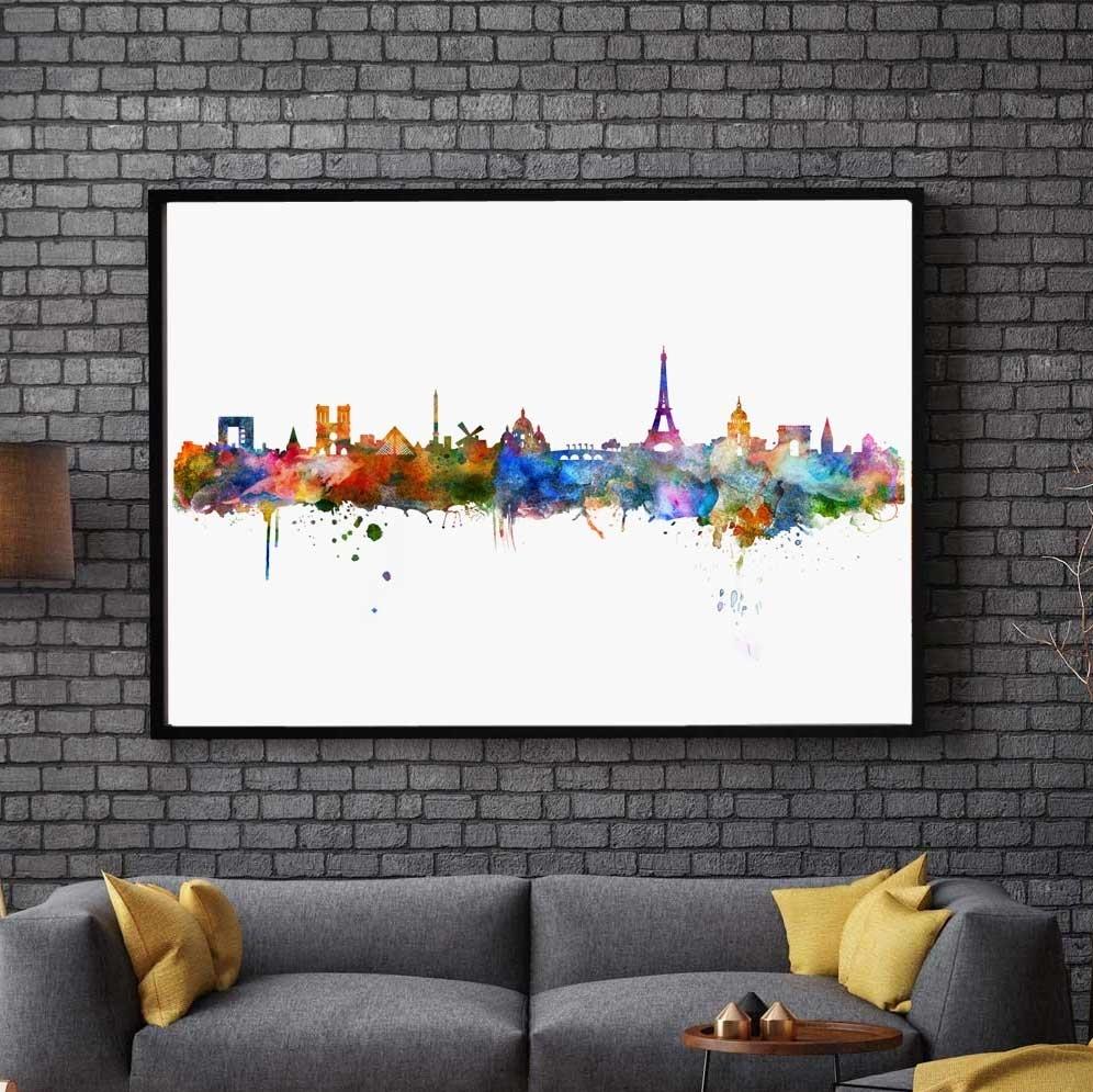 Paris Watercolor Skyline City Poster Map Paris Wall Art Skyline Intended For Map Of Paris Wall Art (Photo 4 of 20)
