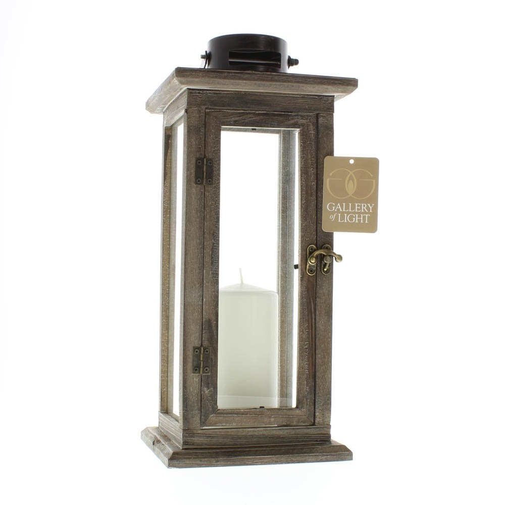 Patio Candle Lanterns, Rustic Wooden Tall Candle Lantern Holder For With Tall Outdoor Lanterns (View 12 of 20)