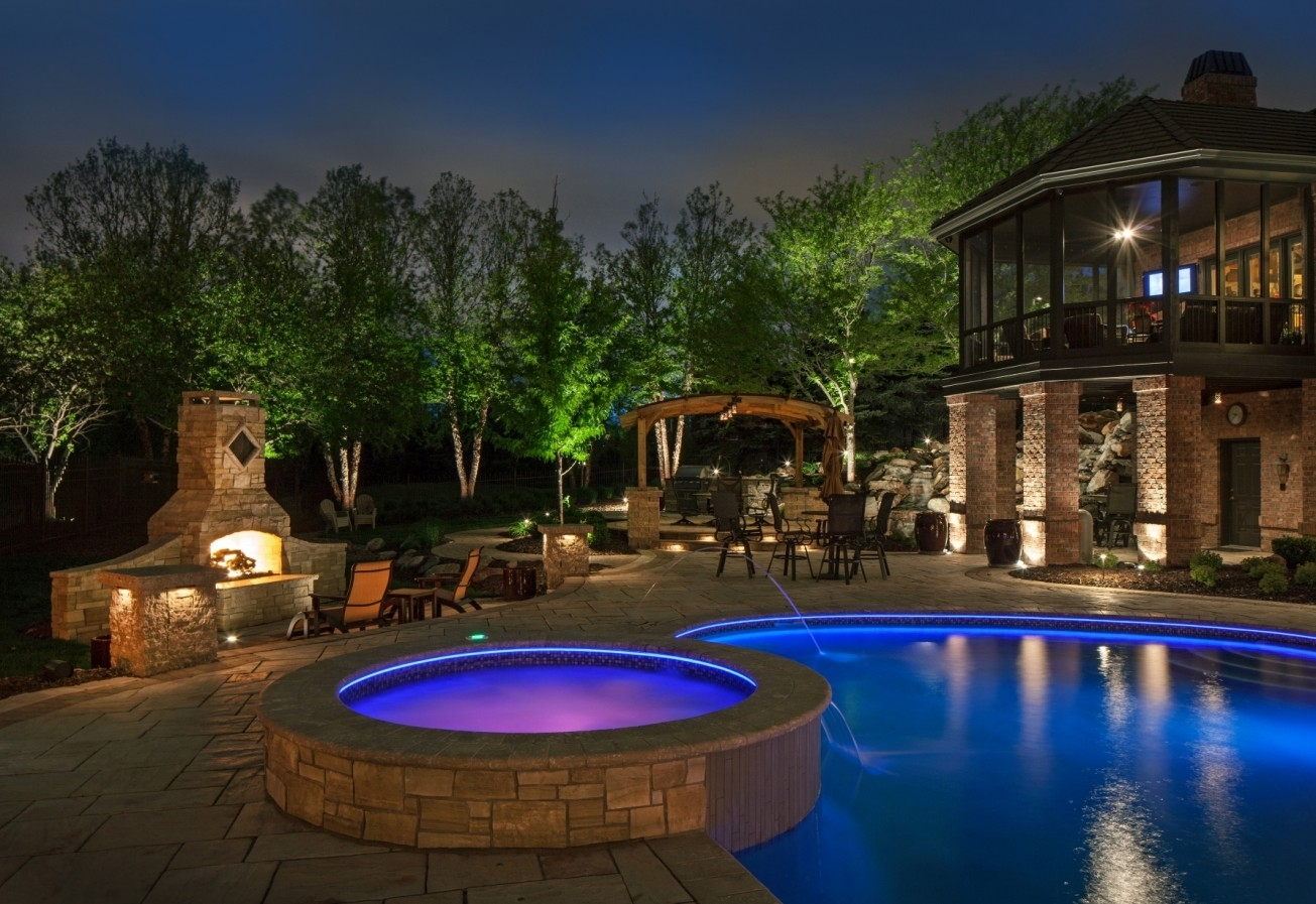 Patio Ideas Outdoor Lamp For With Blue And Purple Swimming Electric With Regard To Outdoor Pool Lanterns (Photo 17 of 20)
