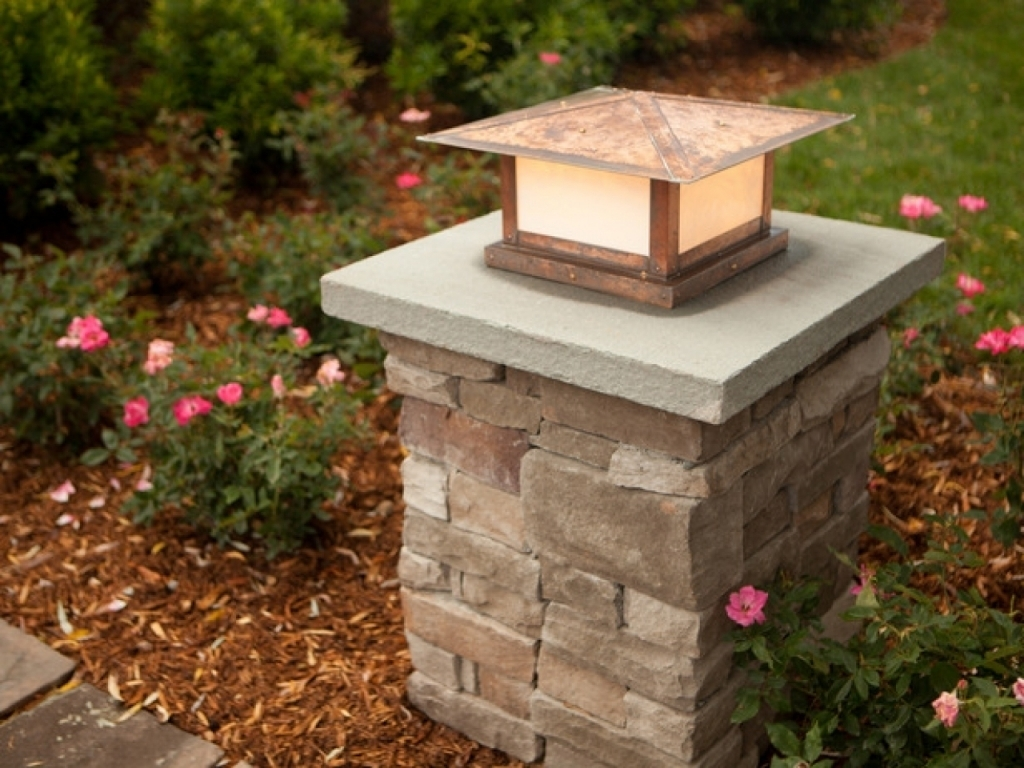 Patio Kitchen Ideas Stone Pillar Lighting Driveway Pillars Outdoor Pertaining To Outdoor Lanterns For Pillars (Photo 16 of 20)