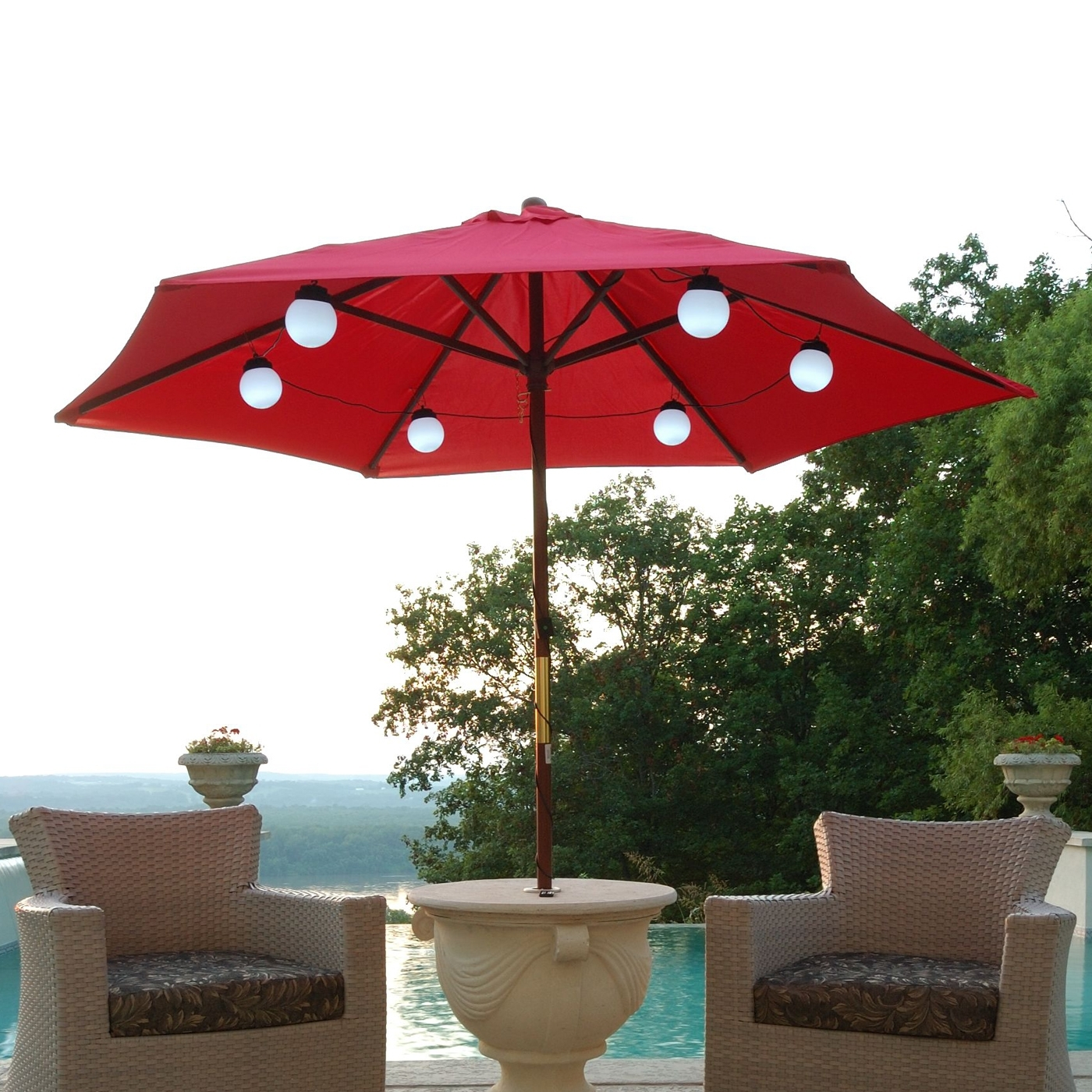 Patio Living Concepts 080 Bright White Led Solar Powered Umbrella Intended For Red Outdoor Table Lanterns (Photo 7 of 20)