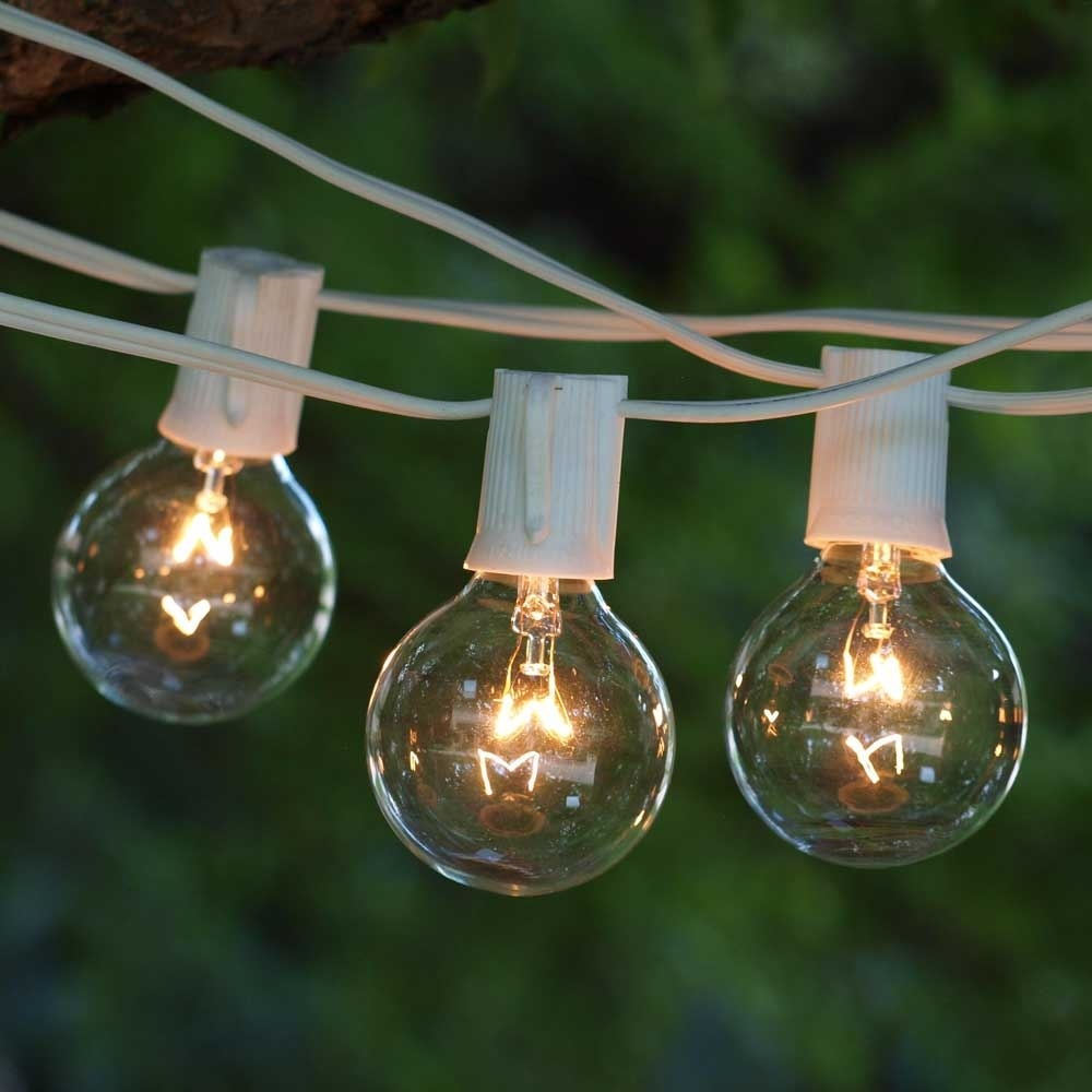 Patio String Lights, 100' White C9, G50 Clear Bulb | Partylights In Outdoor Empty Lanterns (Photo 11 of 20)