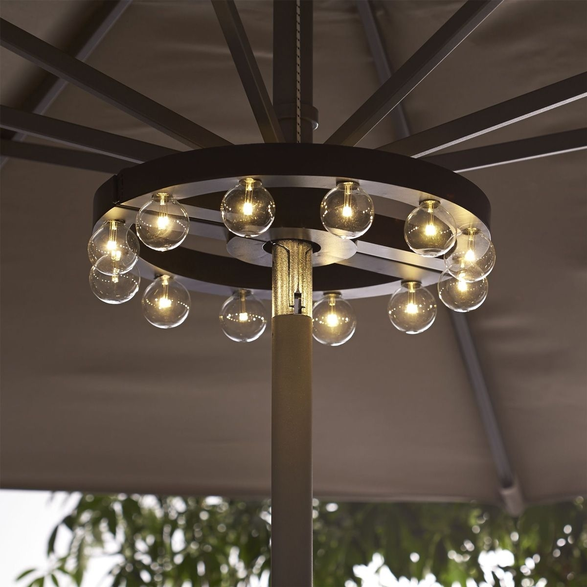 Patio Umbrella Marquee Lights | Get Outside For The Summer Pertaining To Outdoor Umbrella Lanterns (Photo 1 of 20)
