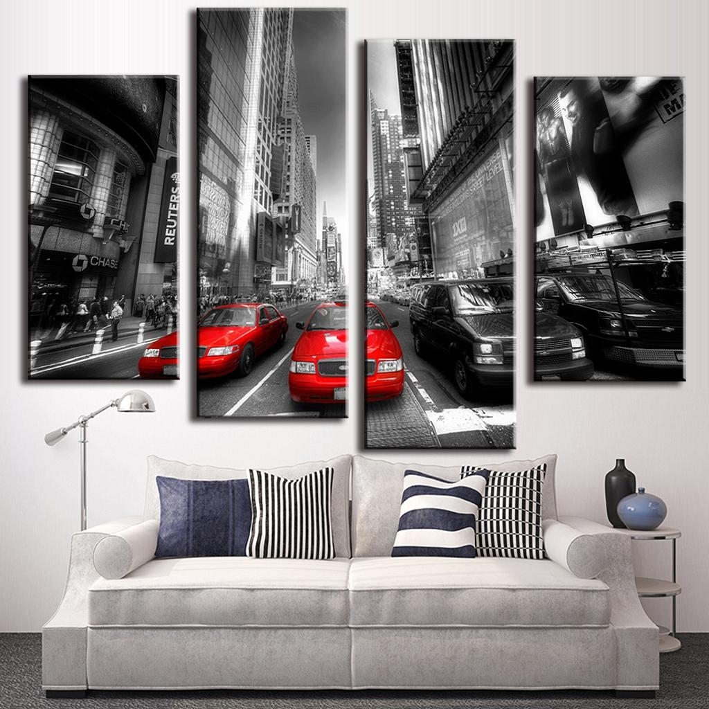 Pcs Set Landscape Car Wall Art Decoration Modern City Red Taxis On Regarding Red And Black Canvas Wall Art (Photo 16 of 20)