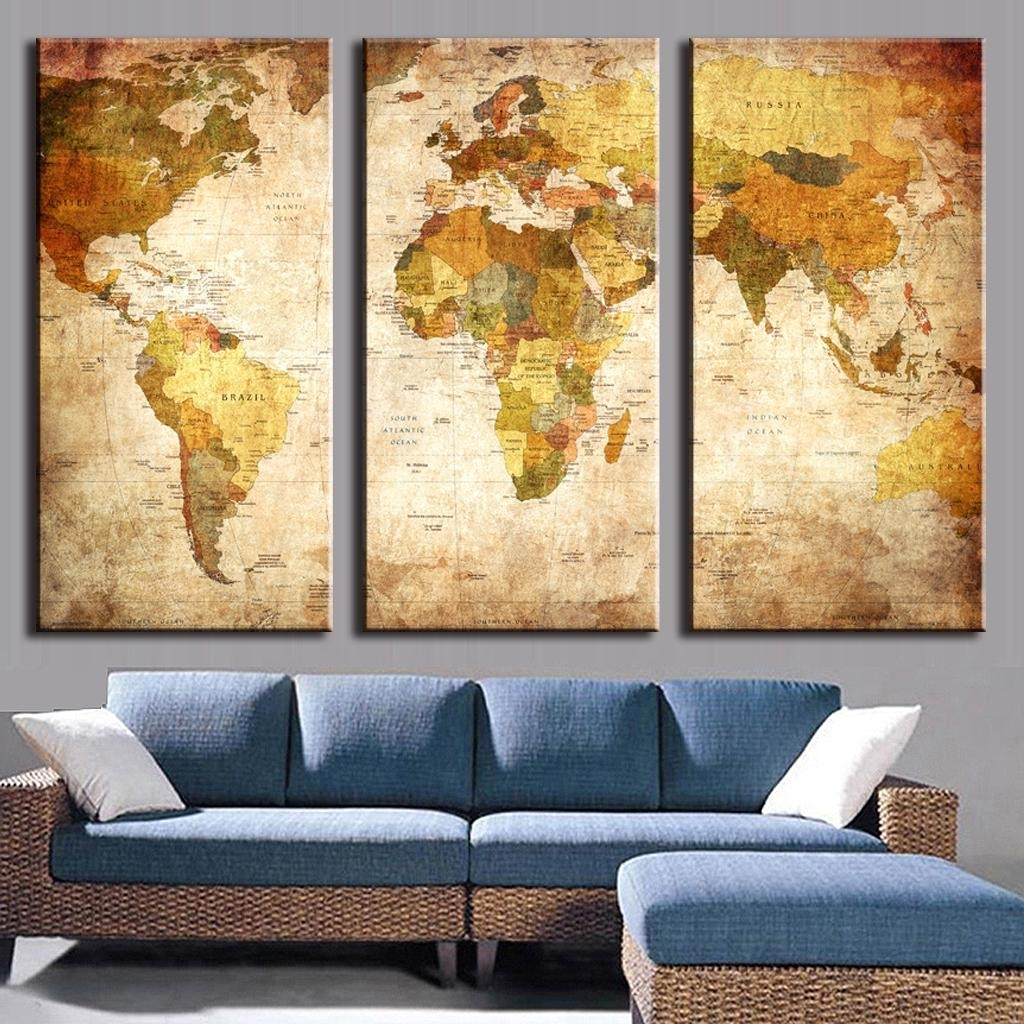 Pcs Set Vintage Painting Framed Canvas Wall Art Picture Classic Map Within World Map Wall Art Canvas (Photo 7 of 20)