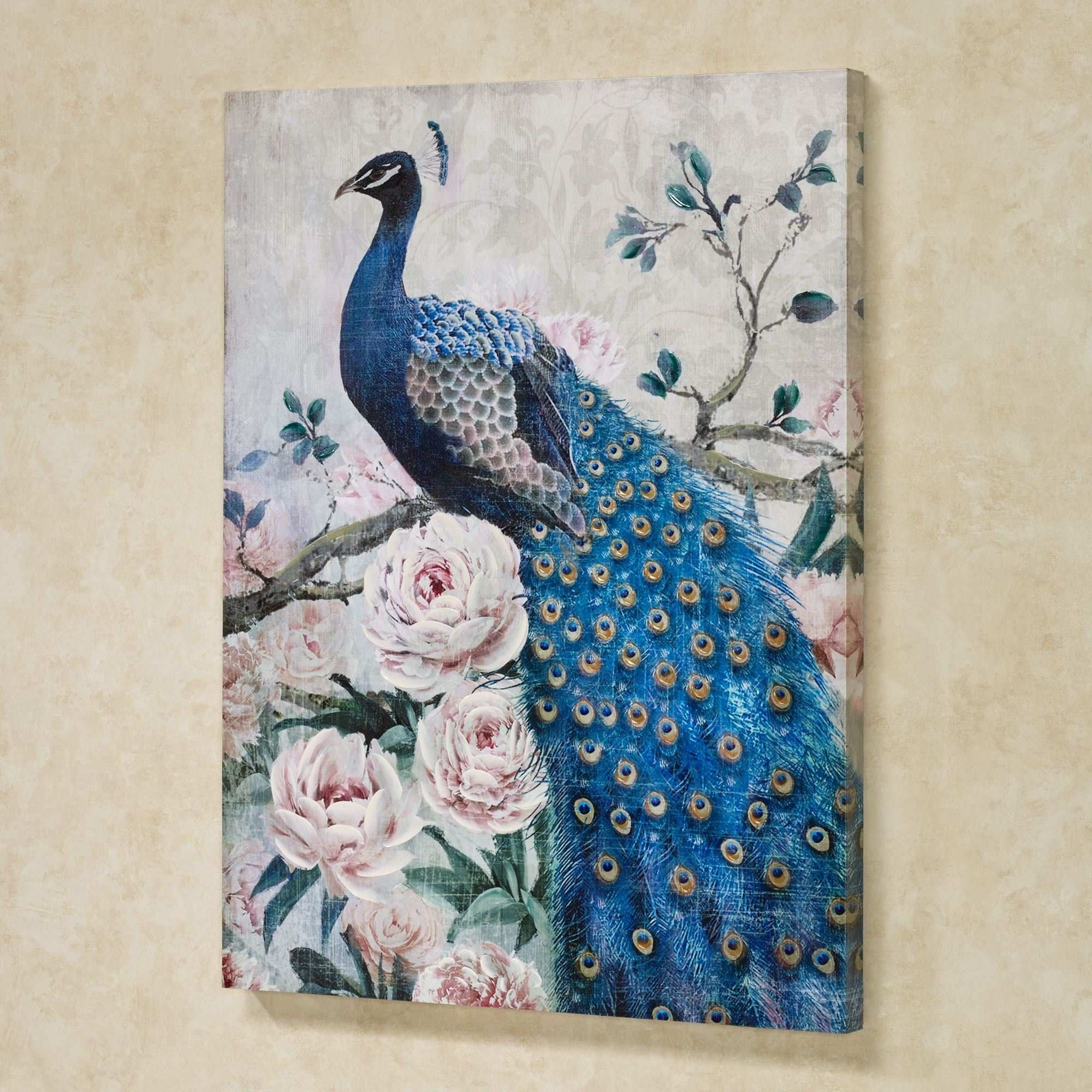 Peacock Canvas Painting Inspirational Peacock Canvas Wall Art Touch Within Touch Of Class Wall Art (Photo 18 of 20)