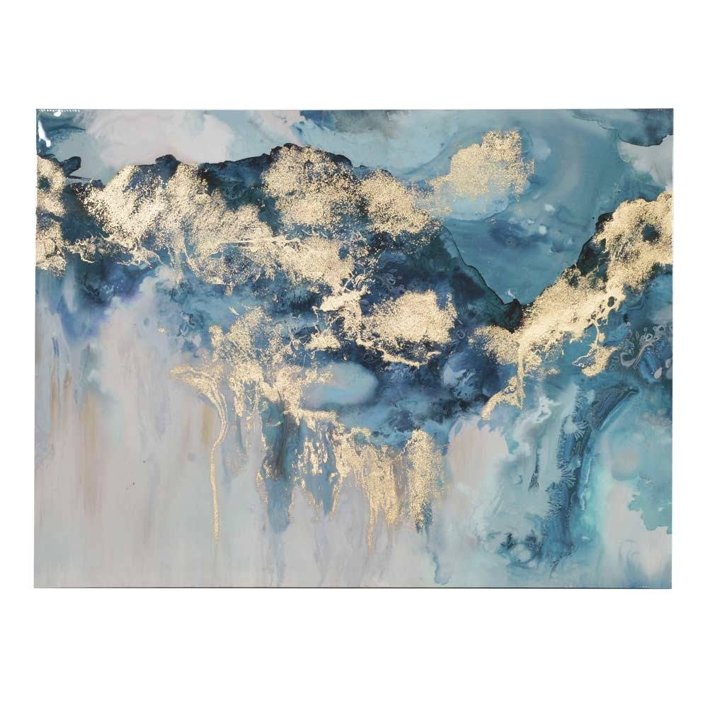 Pearlescent Waves Abstract Wall Art | Blue Canvas with Abstract Wall Art (Image 18 of 20)