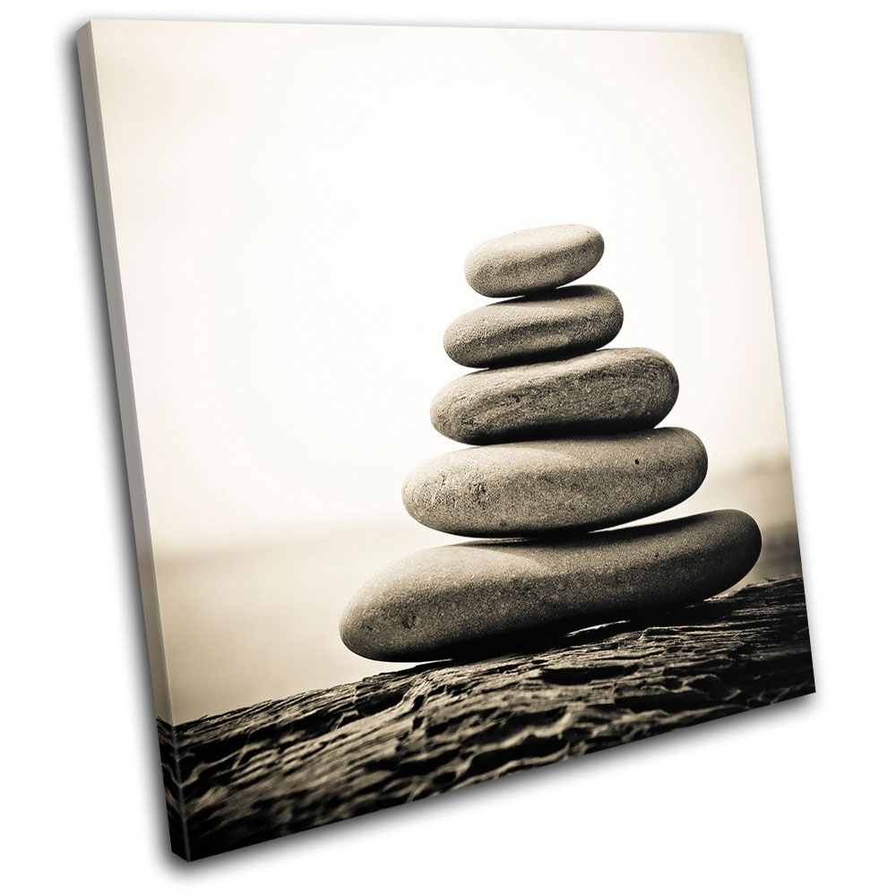 Pebbles Tranquil Bathroom Single Canvas Wall Art Picture Print Va | Ebay regarding Bathroom Canvas Wall Art (Image 18 of 20)