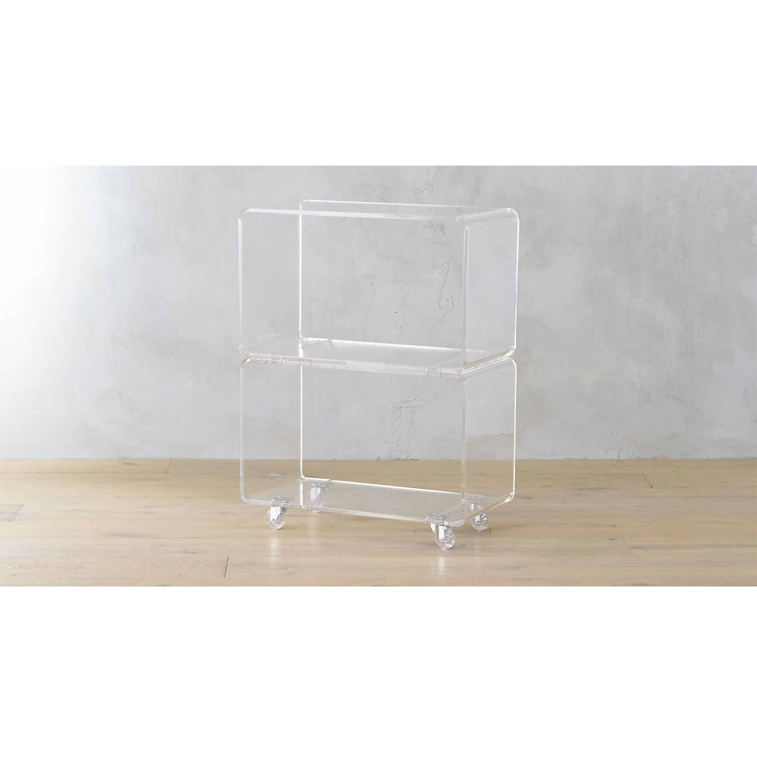 Peekaboo Acrylic Rolling Two Shelf | Shelves, Modern Coffee Tables pertaining to Peekaboo Acrylic Coffee Tables (Image 25 of 30)