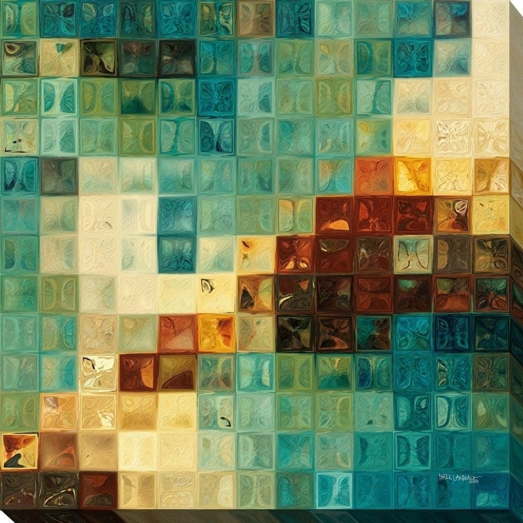 Perfect Mark Lawrence 'aqua Tiles' Giclee Stretched Canvas Wall Art Throughout Tile Canvas Wall Art (Photo 8 of 20)