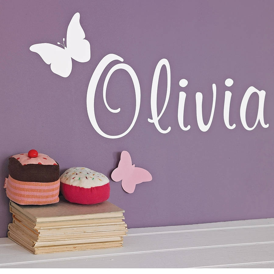 Personalised Butterfly Wall Stickernutmeg | Notonthehighstreet With Regard To Name Wall Art (Photo 11 of 20)