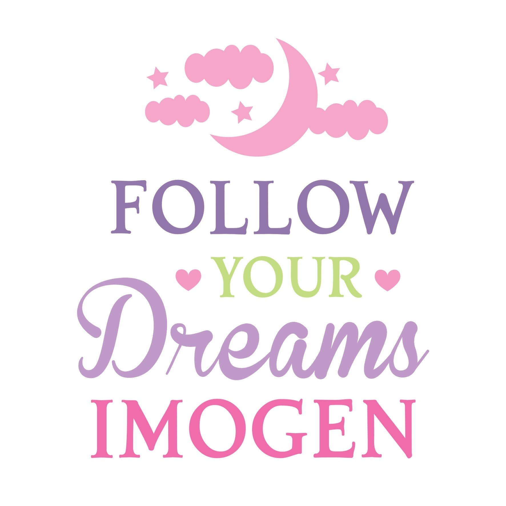 Personalised Follow Your Dreams Pink Wall Art Intended For Pink Wall Art (Photo 20 of 20)