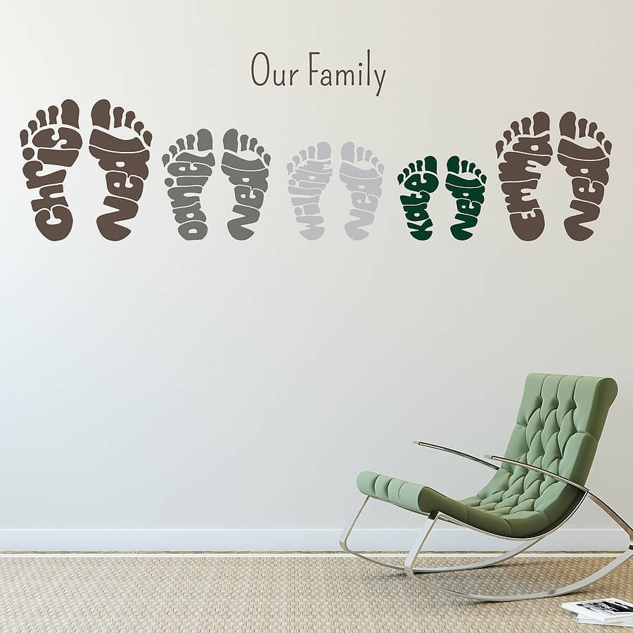 Personalised Footprint Wall Art Stickersname Art For Name Wall Art (Photo 4 of 20)