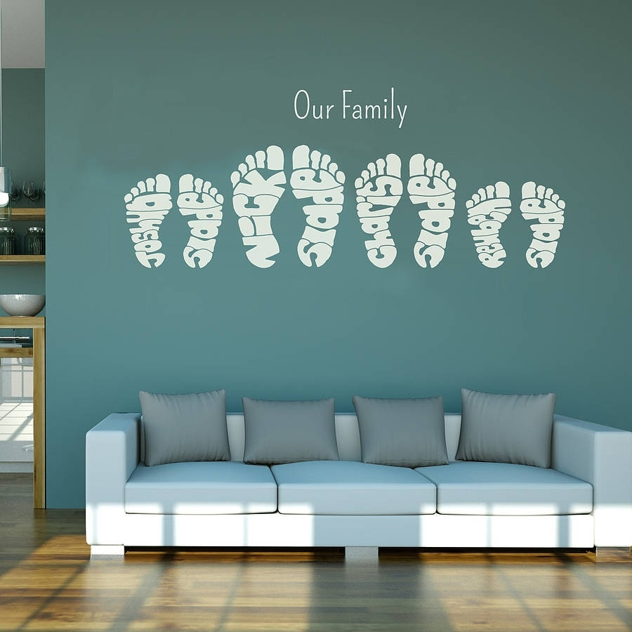 Personalised Footprint Wall Art Stickersname Art Pertaining To Wall Art Stickers (View 3 of 20)