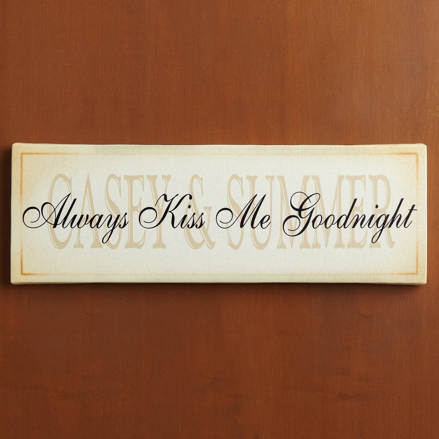 """Personalized """"always Kiss Me Goodnight"""" Canvas Wall Decor   Walmart Within Walmart Wall Art (Photo 9 of 20)"""