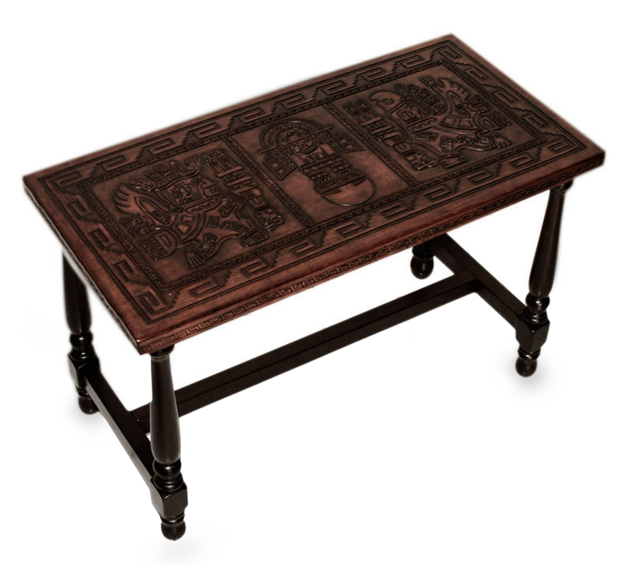 Peruvian Hand Tooled Wood Leather Coffee Table   Inca Mailman | Novica Regarding Expressionist Coffee Tables (Photo 28 of 30)