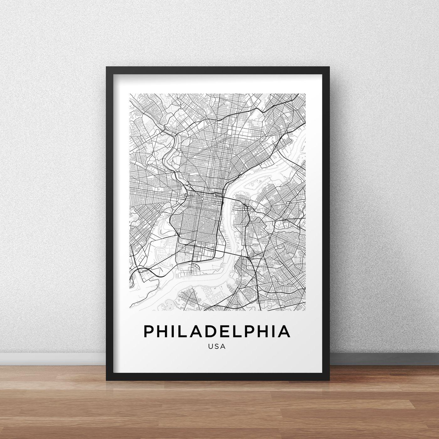Philadelphia Map Print, Philadelphia Map Download, City Map With Philadelphia Map Wall Art (Photo 1 of 20)