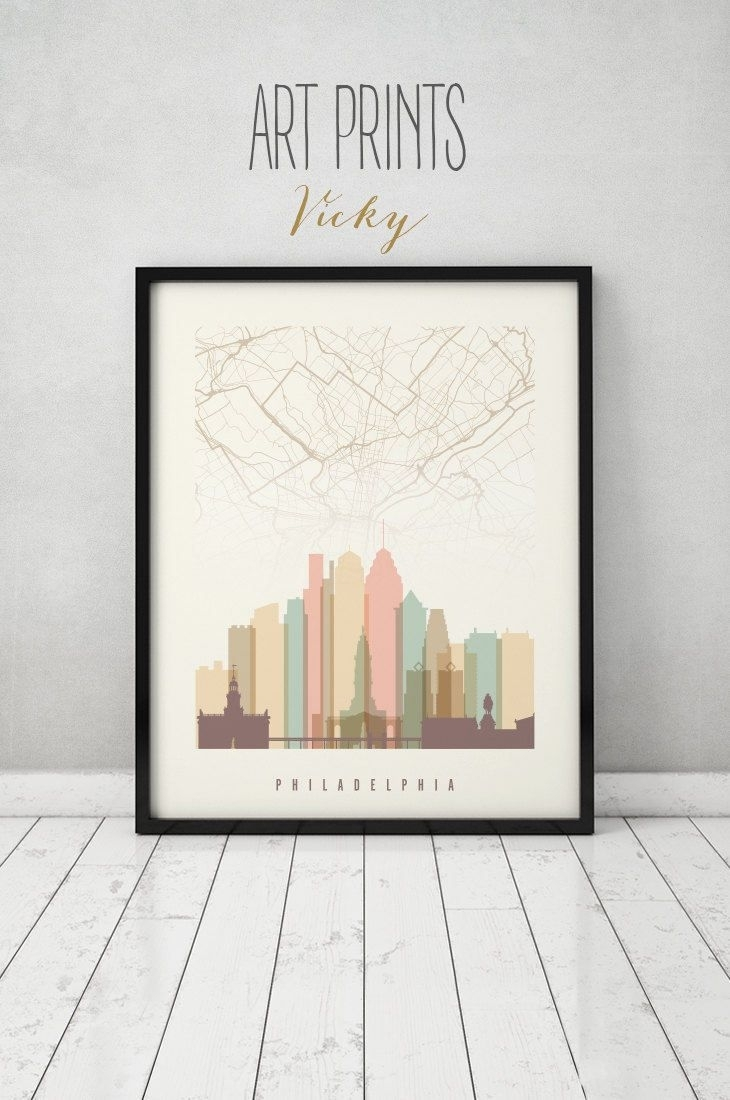 Philadelphia Map Print, Philadelphia Map Poster, City Maps In Philadelphia Map Wall Art (Photo 3 of 20)
