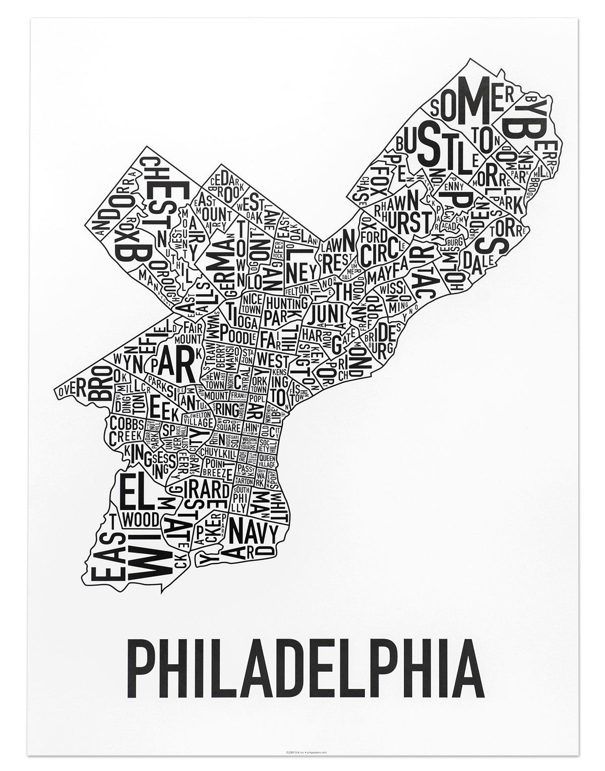 "Philadelphia Neighborhood Map 18"" X 24"" Classic Black & White Poster In Philadelphia Map Wall Art (View 11 of 20)"