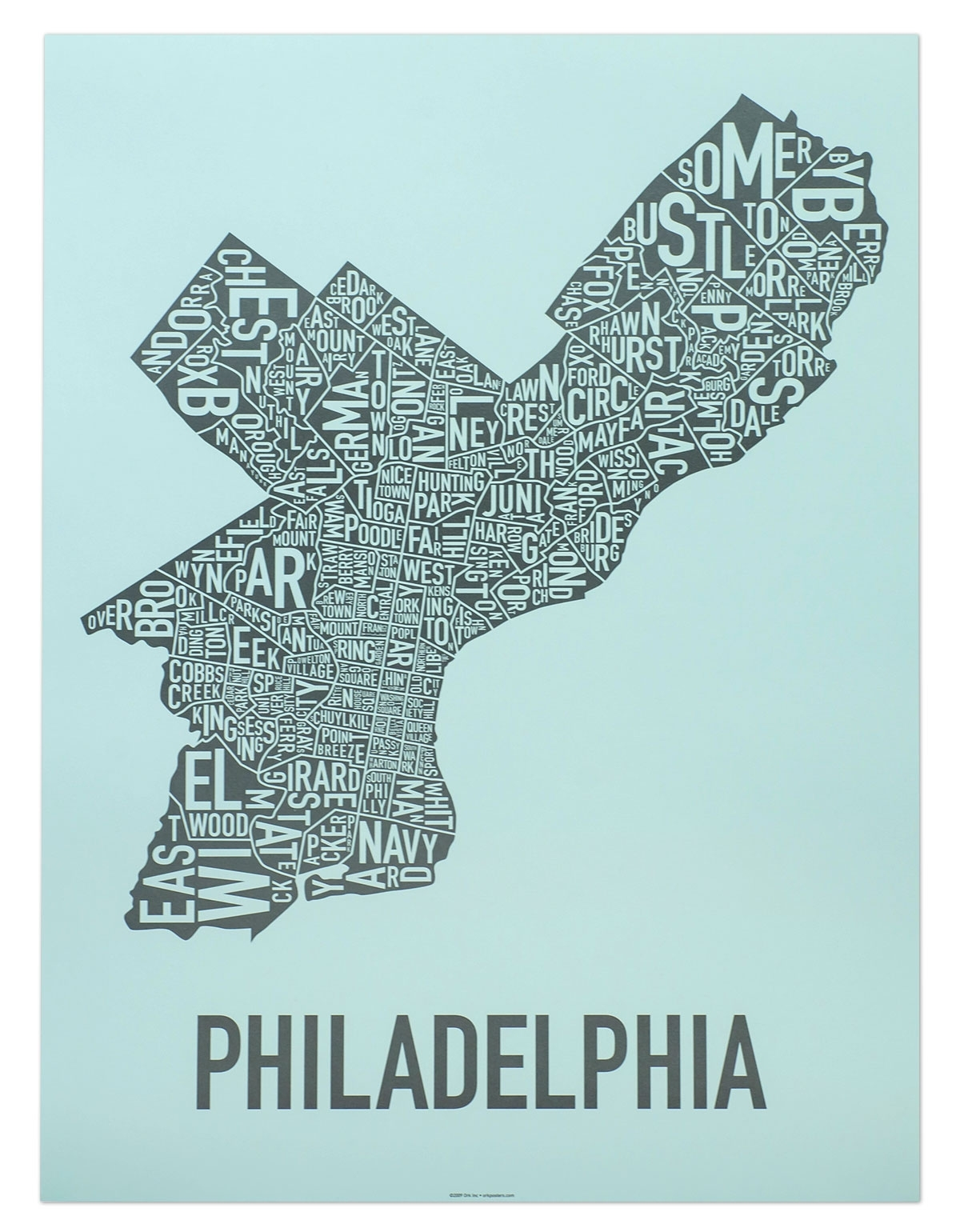 "Philadelphia Neighborhood Map 18"" X 24"" On The Streets Of Poster Throughout Philadelphia Map Wall Art (Photo 14 of 20)"