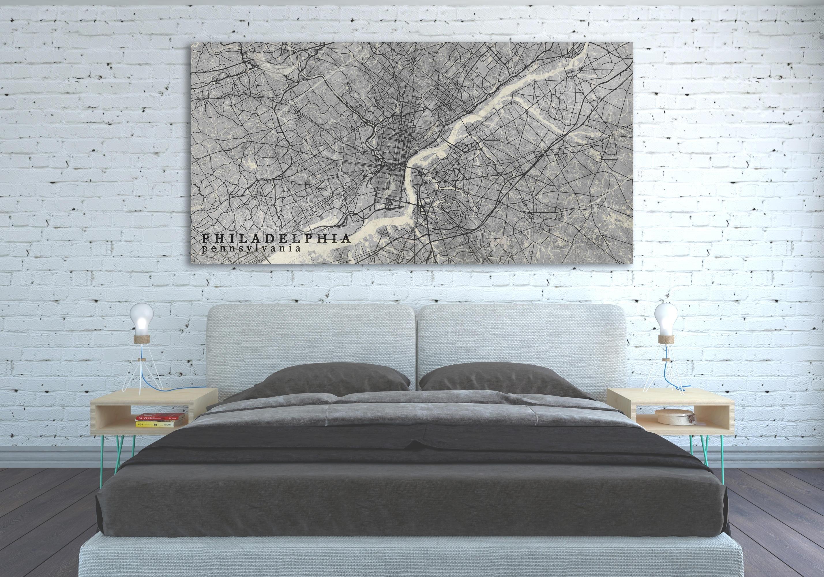 Philadelphia Pa Canvas Print Pennsylvania Pa Vintage Map Black White With Regard To Philadelphia Map Wall Art (View 8 of 20)