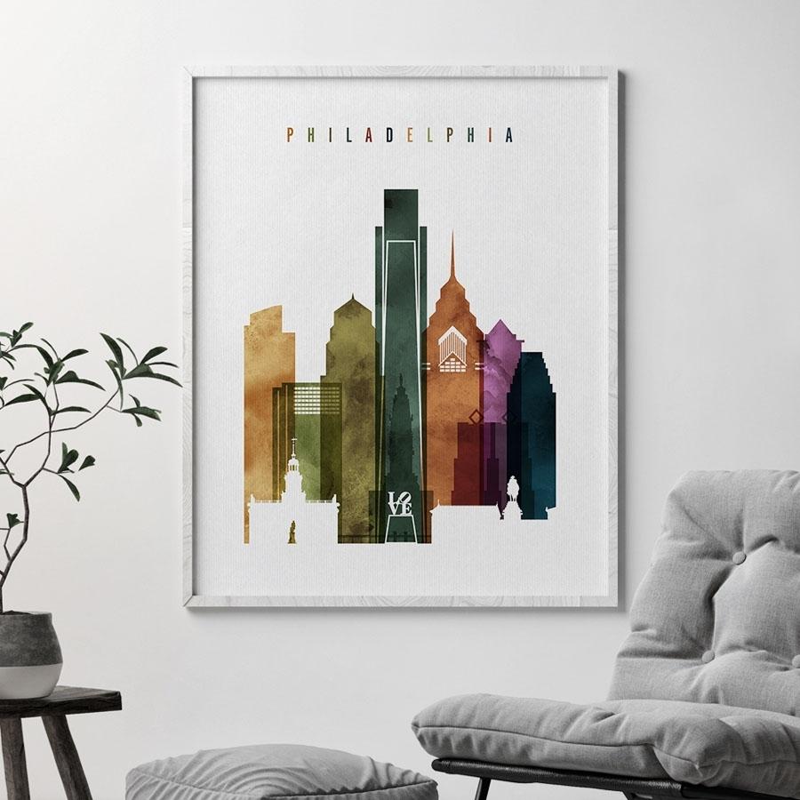 Philadelphia Skyline Print Watercolor 3 | Artprintsvicky Intended For Philadelphia Map Wall Art (View 6 of 20)