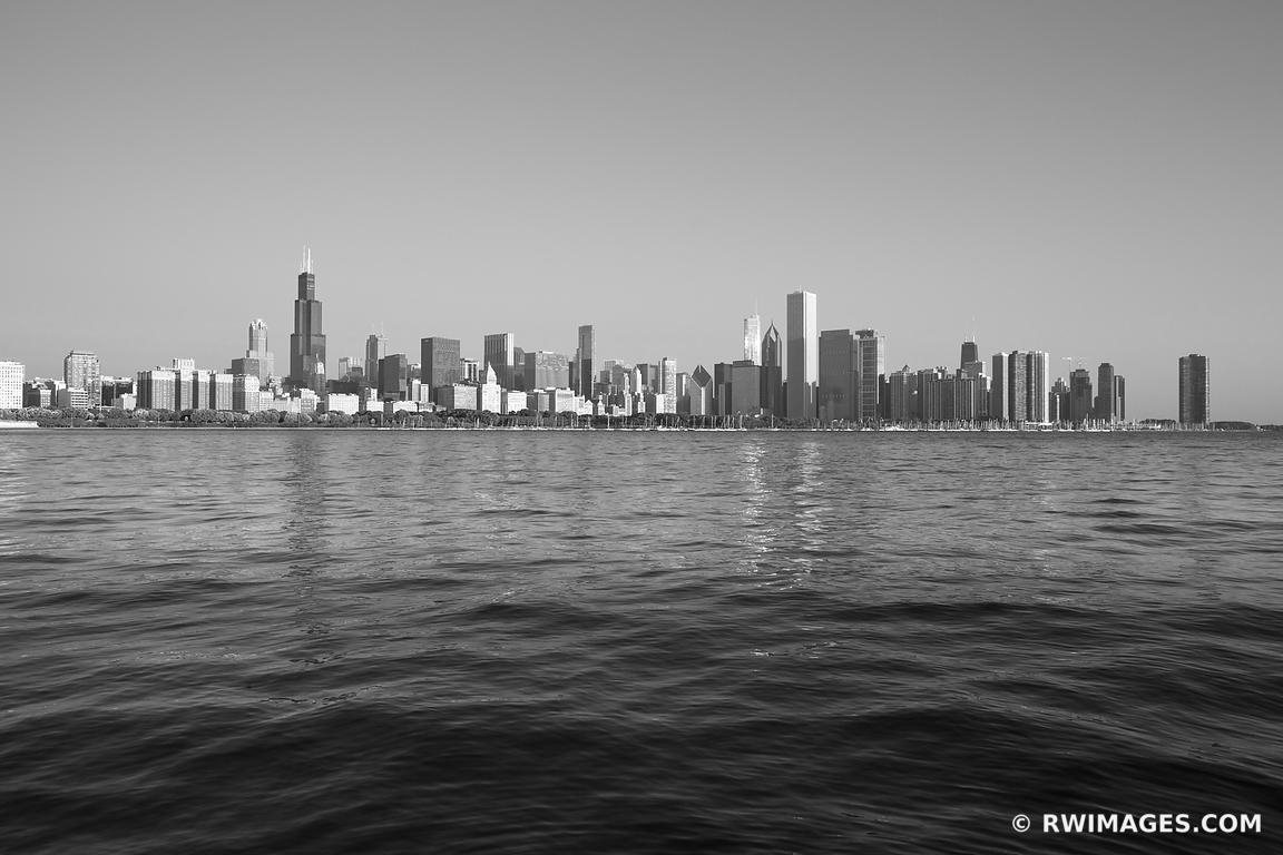 Photo Print Of Chicago Skyline Black And White Print Framed Picture regarding Chicago Wall Art (Image 19 of 20)