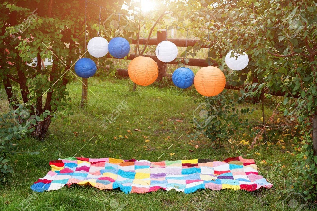 Picnic Setting Outdoors With Plaid And Paper Lanterns. Celebration Within Outdoor Paper Lanterns (Photo 19 of 20)