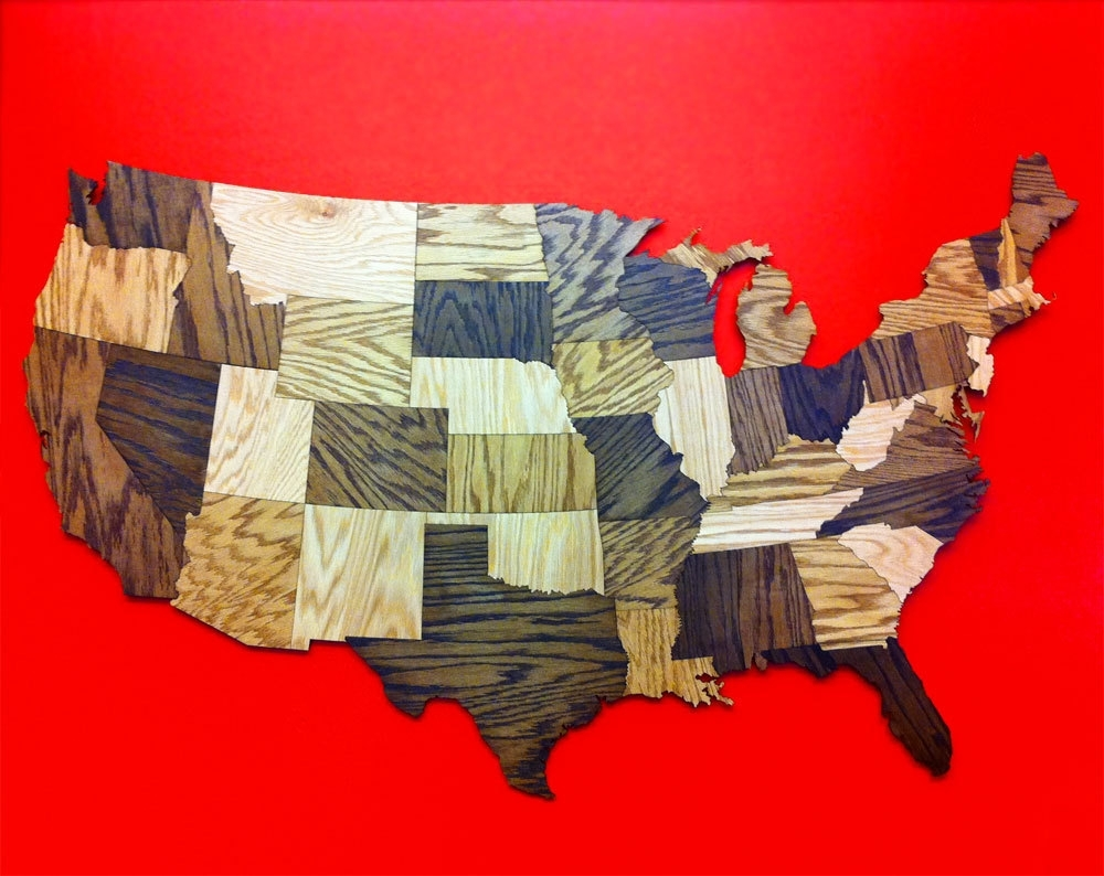 Pictures: United States Map Wall Decor,   Longfabu Pertaining To United States Map Wall Art (Photo 8 of 20)