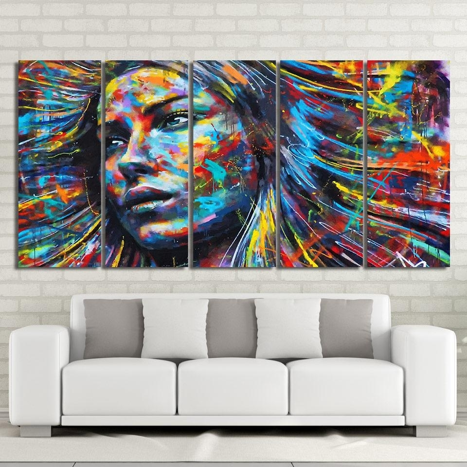 Piece Canvas Art Colorful Hair Figure Woman Face Painting Free Inside Colorful Wall Art (Photo 17 of 20)
