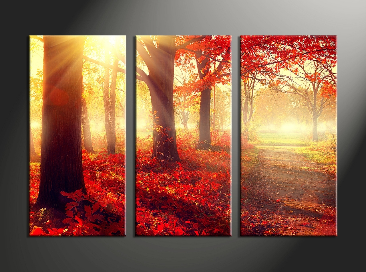 Piece Canvas Red Autumn Scenery Home Wall Art Decor Vvvart Good 3 inside 3 Piece Wall Art (Image 18 of 20)