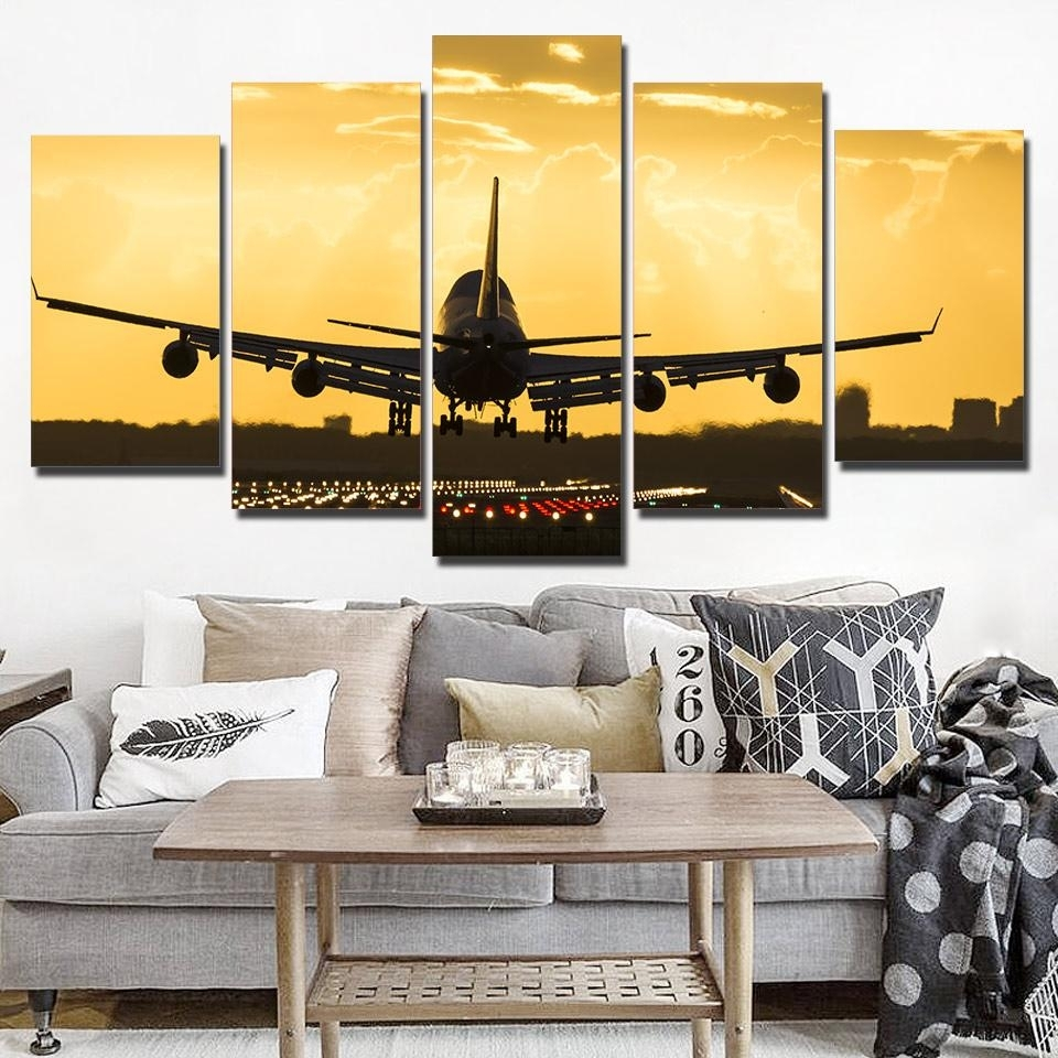 Piece Golden Cool Airplane Wall Art - Wall Decoration And Wall Art Ideas in Airplane Wall Art (Image 17 of 20)