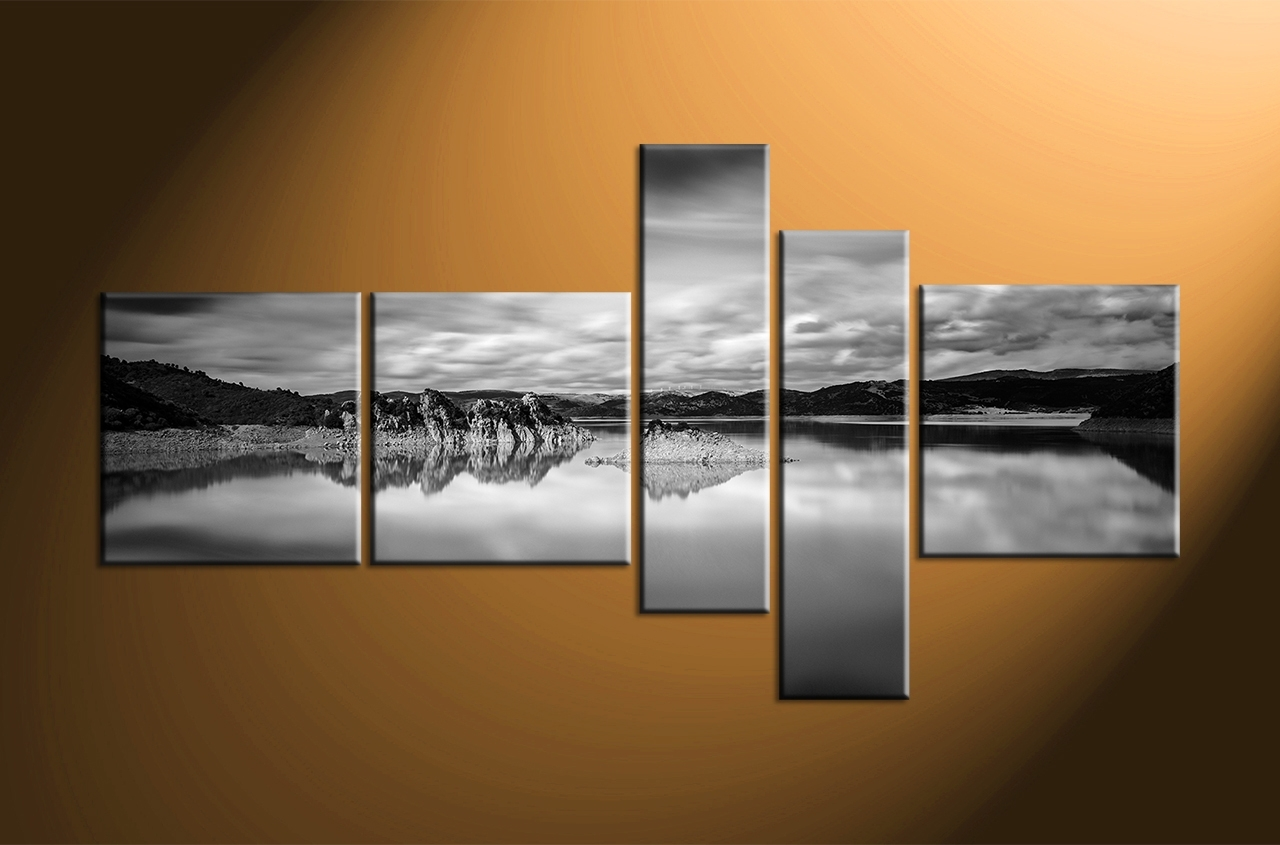 Piece Ocean Black And White Mountain Photo Canvas Home Decor Vvvart For Black And White Large Canvas Wall Art (Photo 9 of 20)