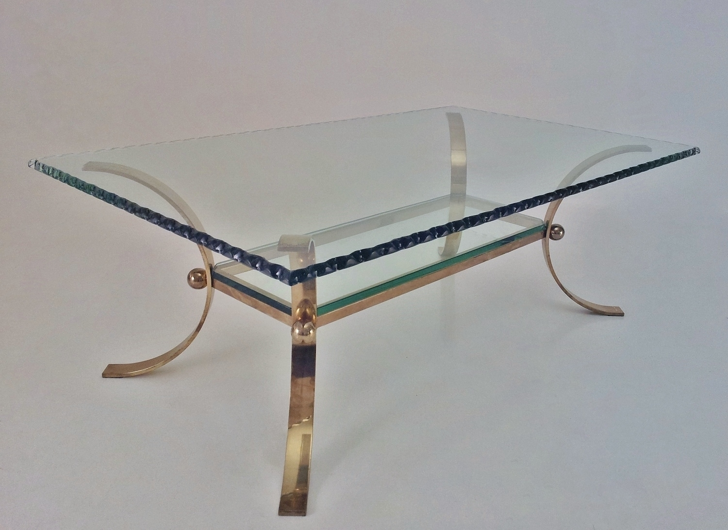 Pier Luigi Colli Vintage Large Coffee Table Brass & Chiseled Glass within Chiseled Edge Coffee Tables (Image 21 of 30)