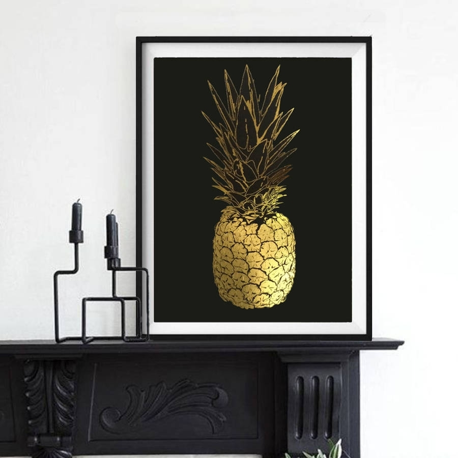 Pineapple, Gold Foil Framed Artpalm Valley | Notonthehighstreet Within Gold Foil Wall Art (Photo 20 of 20)