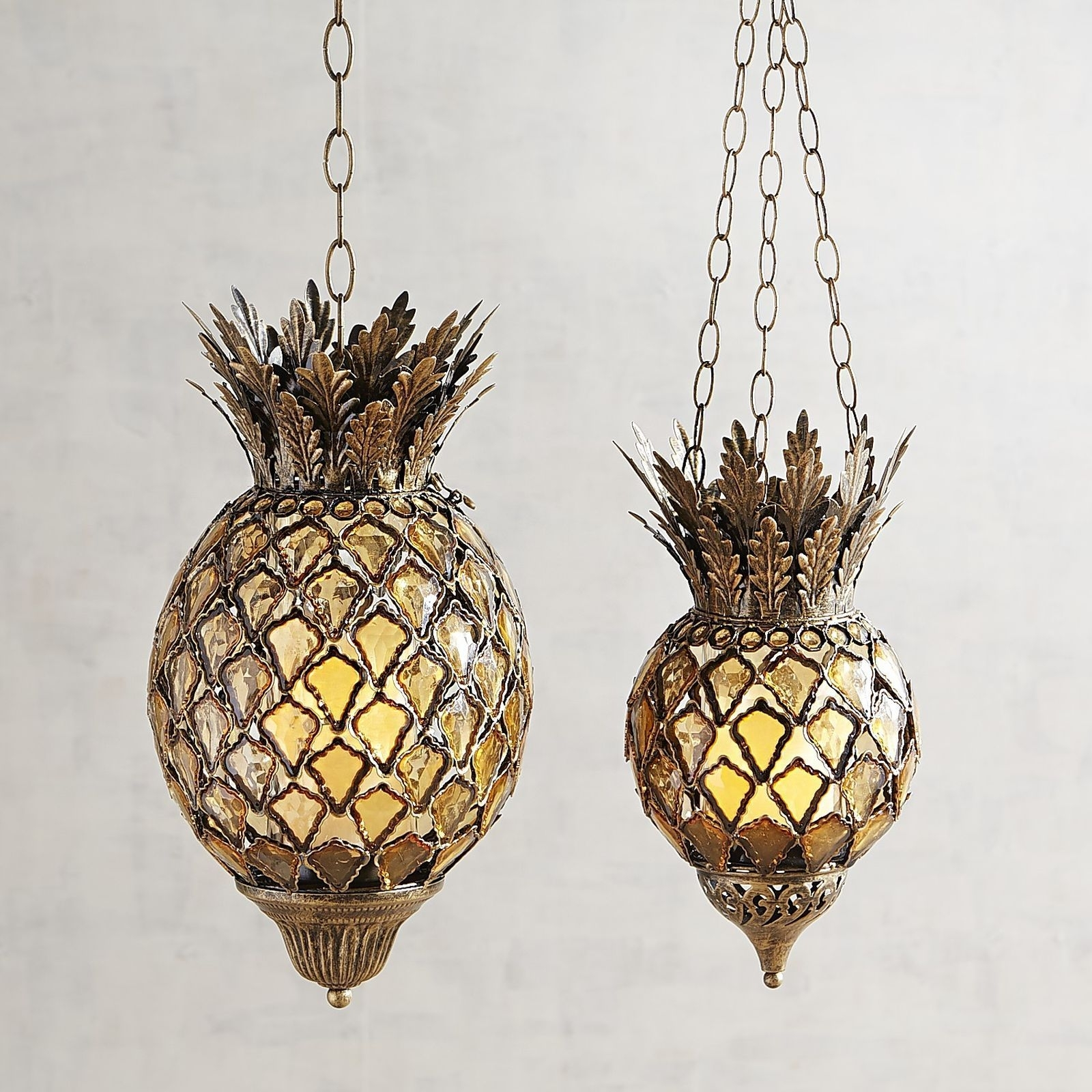 Pineapple Hanging Light Outdoor Fixtures Bling Gem Boho Lantern within Outdoor Pineapple Lanterns (Image 14 of 20)
